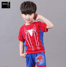 2016 Brand New Spider Man Children Clothing Sets Boys Spiderman Cosplay Sport Suit Kids Sets T-shirts + Pants 2pcs Boys Clothes
