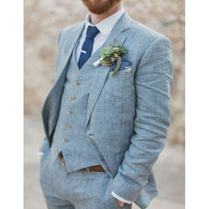 Latest Coat Pant Designs Light Blue Linen Wedding Suits