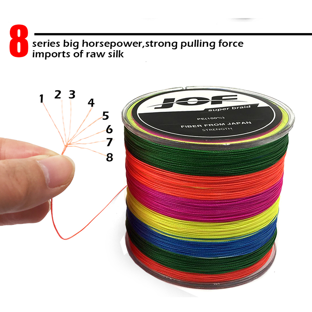 300M JOF FISHING Brand Japan multicolor 300M 8 Color mulifilament PE ...