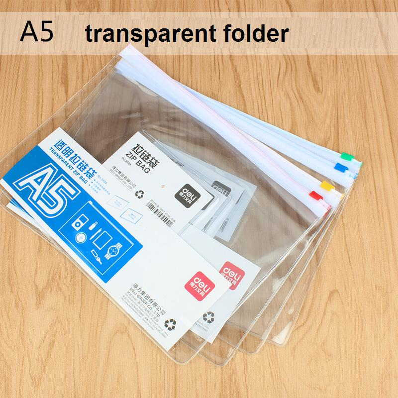 6Pcs Transparent Clear PVC Zipper Bag A5 Documents File Cover Business Trip School Exam Paper Stationery Storage Bag Deli 5524