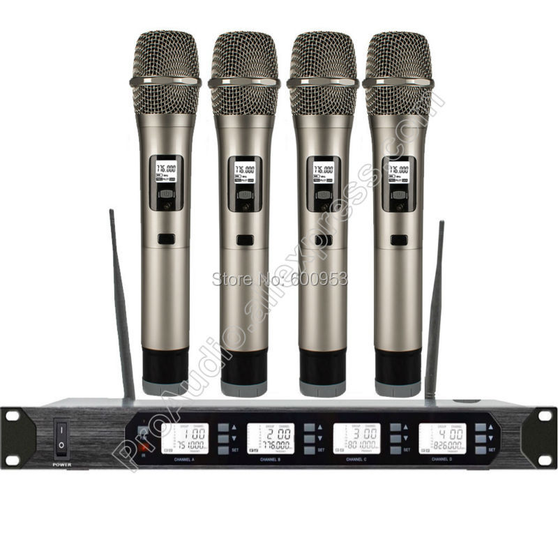 MICWL Audio UHF 400 Channel 4 Handheld Wireless Radio Dynamic Microphone Mic System for Stage Singing xtuga ew240 4 channel wireless microphones system uhf karaoke system cordless 4 bodypack mic for stage church use for party
