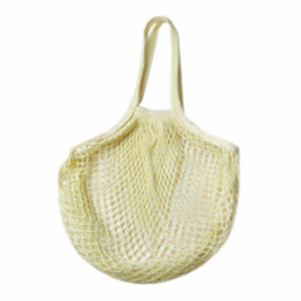 2019 New Mesh Net Turtle Bag String Shopping Bag Reusable Fruit Storage Handbag Totes Women Shopping Mesh Bag Shopper Bag