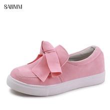 SANMM Women Bowknot Sneakers Ladies Spring Autumn Platform Shoes Woman Soft Sole Casual Lazy Flats Plus Size AZ122