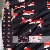 Pearlsilk 12momme Lovely Fox Printed Crepe de Chine 100%Mulberry Silk Materials Shirt Dress Sleepwear DIY clothes fabrics