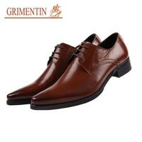 Gri Для мужчин Олово ручной работы Лакированная кожа Мужская обувь натуральной чёрный; коричневый итальянский дизайнер острый носок Для муж