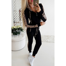 Women Autumn Two-Piece Suit Hoodie Pants Leopard Print Patchwork Zipper Hooded Coat And Casual Trousers H40