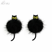 AOMU Cute Resin Yellow Eyes Kitten 3D Animal Cat Stud Earrings For Women Girls Fur Ball Pom Pom Ear Stud Jewelry Brincos student(China)