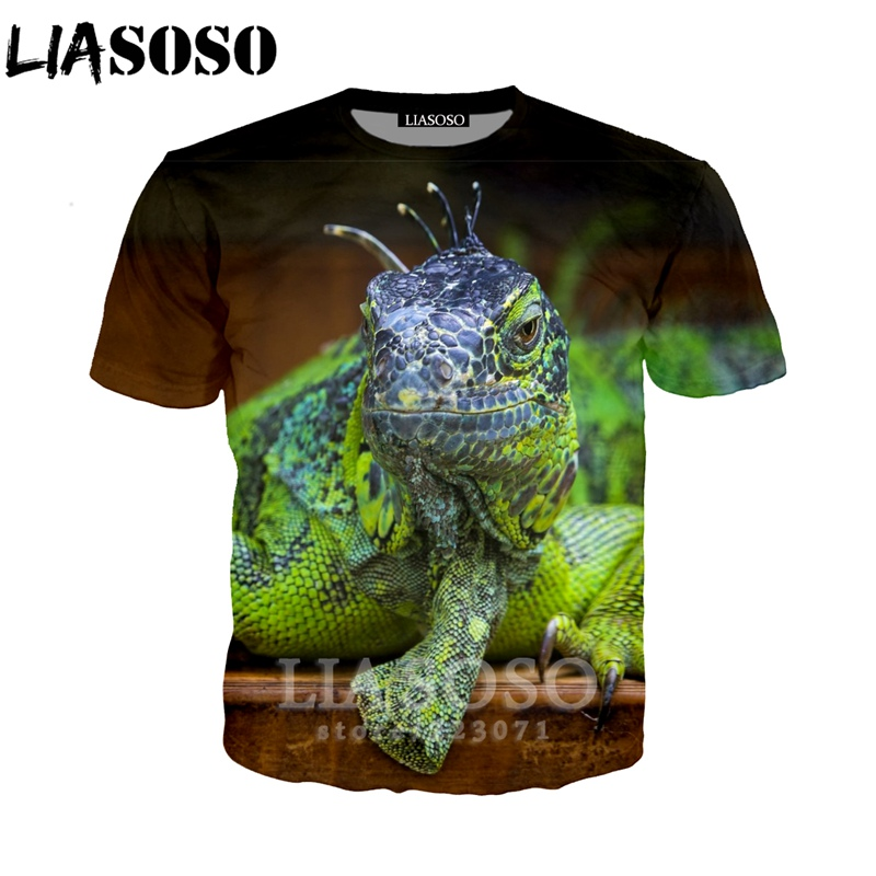 LIASOSO Summer New Men Women Sweatshirt 3D Print Animal Lizard T Shirt Fashion Short Sleeve Top Round Neck Loose Pullover B103-4