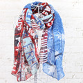 Free Shipping ladies' USA flag infinity scarf new unique style oblong scarf female gift for her women