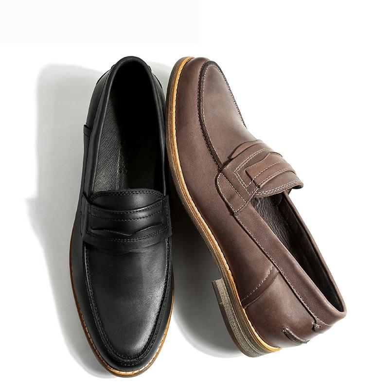 Chaussures Designer Mens Main Luxe Mycoron Deri Top Mocassins Occasionnels gris Hommes Marque De Erkek Noir Véritable Ayakkabi E1XBq