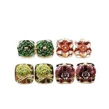Free Shipping New Design Square Alloy Flower Enamel Cute Clip Earring 4pcs cute enamel round dolphin earring