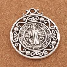 4pcs Retro Saint St Benedict of Nursia Patron Against Evil Medal Pendants 2colors L1787 45X40mm
