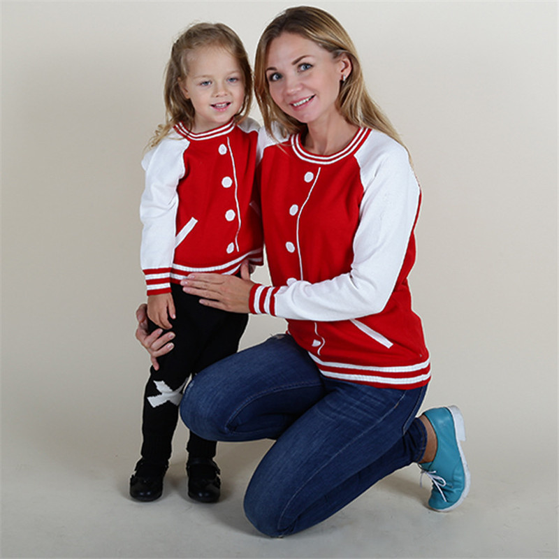 Autumn Pullover Mother Daughter Son Sweater Outfits Casual Women Girl Boy Sweaters Mommy And Me Clothes