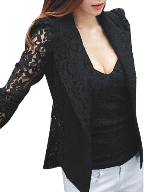 2016 Новая Мода Женщины Весна Осень Sheer Кружева Цветочные Лоскутная Slim ПР Формальные Костюмы Blazer Пальто Куртка Топы Черный Белый