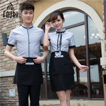 Waiter Waiterss Uniforms Food Service Overalls Short-Sleeved Restaurant Hotel Hot Pot Shop Coffee Supermarket Workwear Top+Apron(China)
