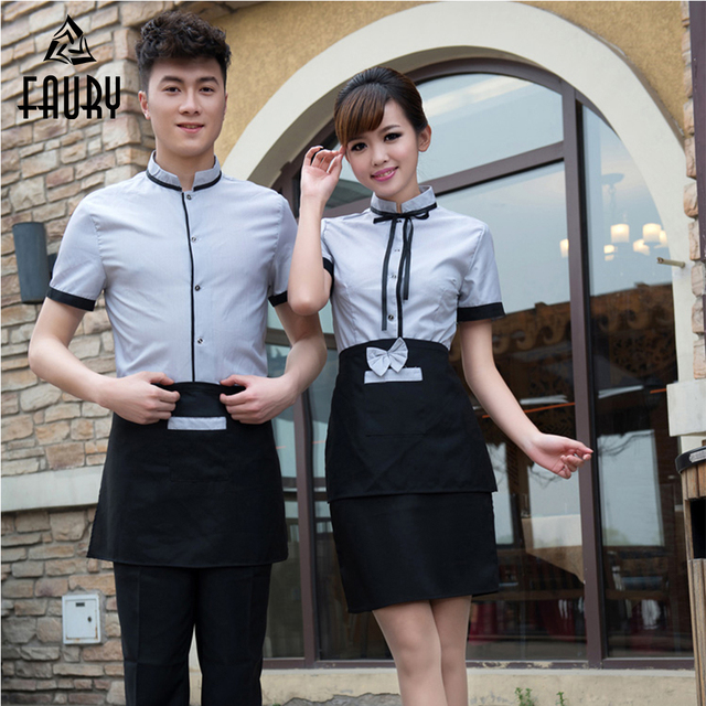 Waiter Waiterss Uniforms Food Service Overalls Short-Sleeved Restaurant Hotel Hot Pot Shop Coffee Supermarket Workwear Top+Apron