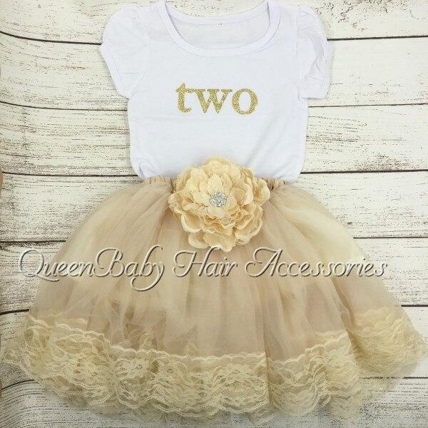 1 компл./лот рождения снаряжение ребенка день рождения рубашка Petti юбка золото рубашка