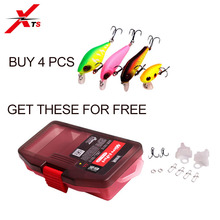XTS Fishing Lures 4PCS A Set Artificial Hard Minnow Baits Sinking And Floating BaitS Lure Box Hook Cover Hooks Split Ring Tackle