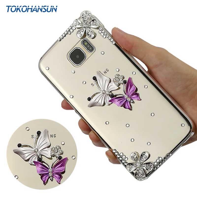 Tokohansun Femmes Accessoires pour Samsung Galaxy S7 Bord S5 S6 S7 S8 Plus La Couverture Diamant Bling Cristal Souple Tpu Cas cas