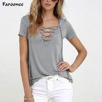 1e72563c0321c Faroonee Female T-shirts Summer Short Sleeve Sexy Deep V Neck Bandage Tee  Women Lace