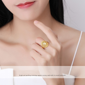 Image 4 - YLJC 24K Pure Gold Ring Real AU 999 Solid Gold Rings Elegant Shiny  Beautiful Upscale Trendy Classic Jewelry Hot Sell New 2020