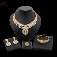 Yulaili African Beads Jewelry Set Indian Bridal Jewelry Sets For Women Gold Color Vintage Costume Nigerian Wedding Jewerly Sets.