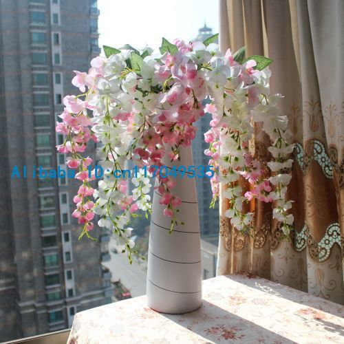 1PCS Արհեստական ​​Wisteria Silk Flower Home Wedding Bouquet Party Decoration 6 գույները մատչելի F107