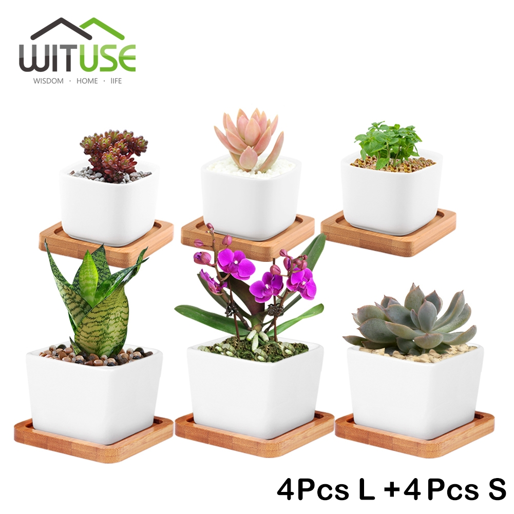 WITUSE 8x Small/Large potted flower Vase White Ceramic Bonsaipot Square Succulent plant planter Flower pot + Bamboo Tray