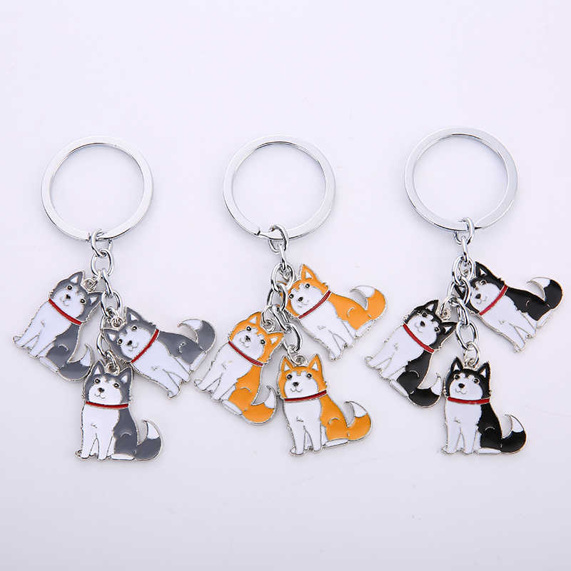 พวงกุญแจน่ารัก Alaska Husky จี้ Key Chain ใหม่สัตว์สุนัขสัตว์เลี้ยงโลหะอะนิเมะพวงกุญแจเครื่องประดับ charm ของขวัญ