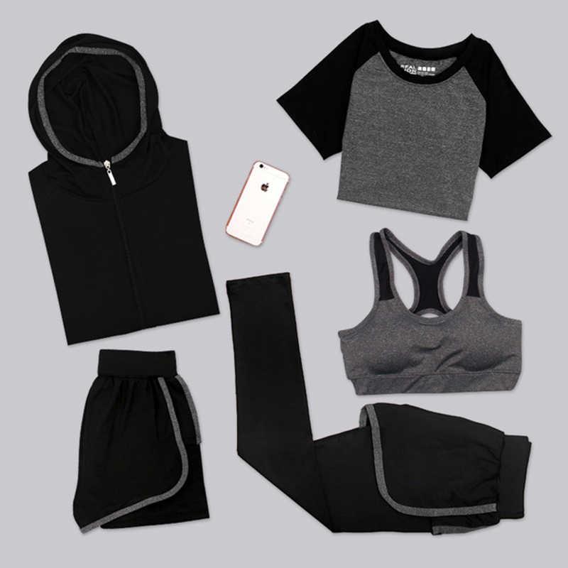 Voobuyla плюс размер 3XL костюмы для занятия йогой Женская одежда для фитнеса спортивный костюм для бега спортивный бюстгальтер + спортивные Леггинсы + шорты для йоги + Топ 5 шт. комплект