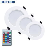 3W 5W 10W RGB LED Downlight AC85 265V Color Changing Recessed Panel Light Bulb Lamp With