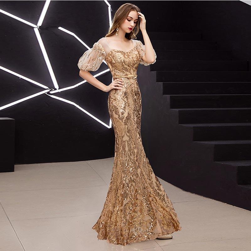 FADISTEE New arrival elegant prom dresses Vestido de Festa gown mermaid Robe De Soiree half puff sleeve sleeves bling sequins 6