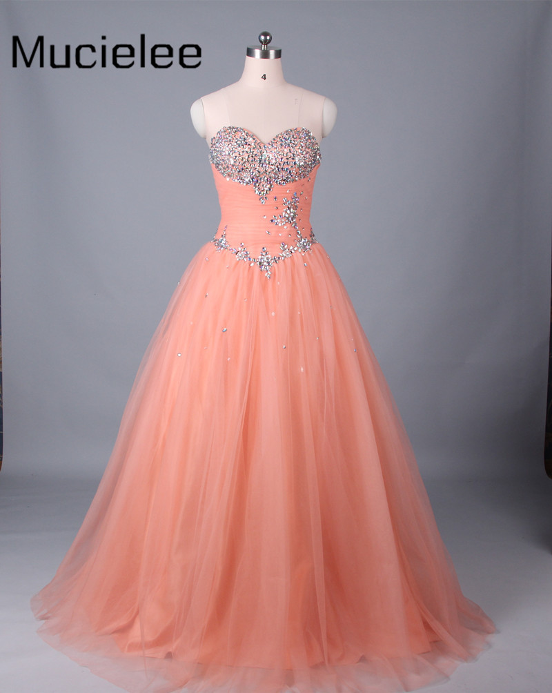 Mucielee Cheap Quinceanera Gowns 2017 Debutante Sweet 16 Princess Coral Quinceanera Dresses 2017 Ball Gown 15 Years Dresses