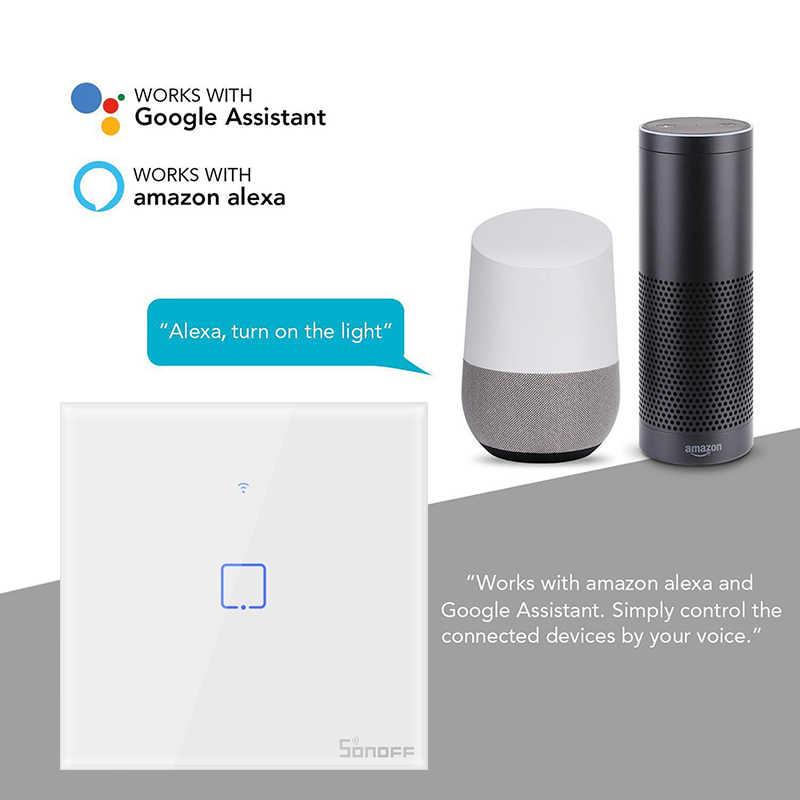 Interruptor de pared Wifi Sonoff T1 TX inalámbrico con Control remoto de la aplicación Control táctil interruptor inteligente Wifi funciona con Google Home alexa