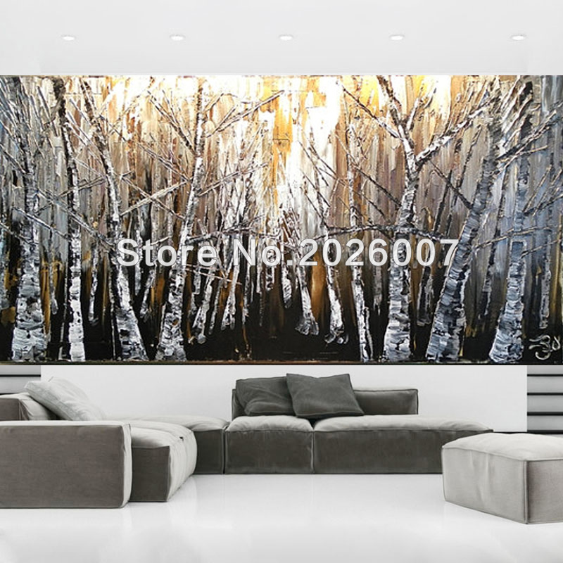 Aspen white painted bedroom Citrin Club Hand Painted Landscape Palette Knife Brown Gold Tan White Birch Aspen Oil Painting On Canvas Modern Home Decoration Fine Artin Painting Calligraphy From Aliexpresscom Hand Painted Landscape Palette Knife Brown Gold Tan White Birch
