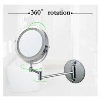 7インチ化粧鏡両面ledライトミラースイベル壁掛け拡張折りたたみミラー付き10x倍率