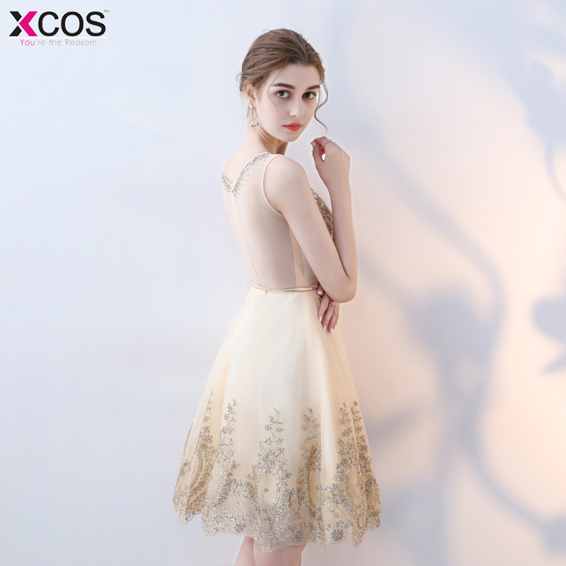 9a460a386b Cheap Graduation Dresses Short Cocktail Party Gowns Knee Length Pearls Gold Lace  Homecoming Dress 2018 vestidos de graduacion-in Homecoming Dresses from ...