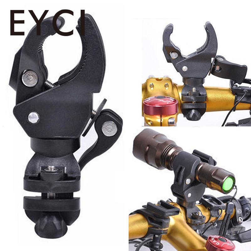 EYCI Plastic Bike Bicycle LED Flashlight Torch Bracket Mount Holder Black Front Light Clip Support