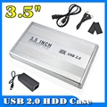 High Capacity 3.5 inch USB 2.0 SATA External HDD HD Hard Drive Enclosure Case Cover Box Silver Color