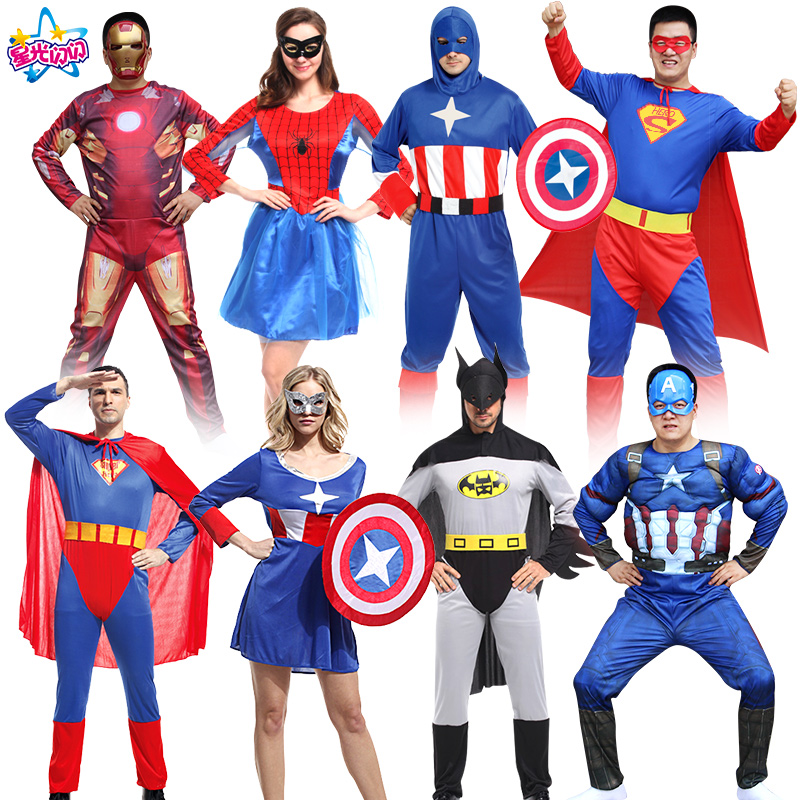Free shipping superman captain America with Glowing mask suit cosply costume foradult men women spider batman avengers alliance