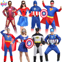 Halloween Costume Adult Spider Batman Superman Captain America Clothes Iron Man Suit Avengers Alliance Free Shipping