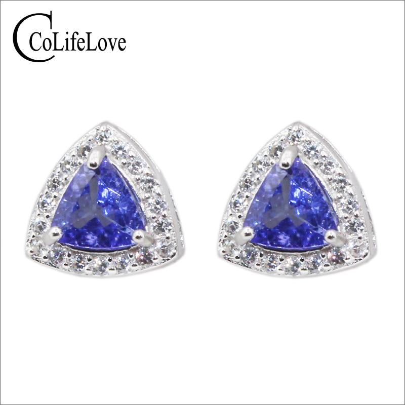 100 natural VVS tanzanite stud earrings 5 mm 5 mm Trillion cut tanzanite earring for wedding