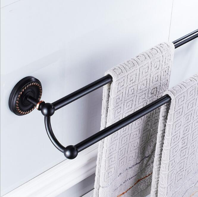 Free Shipping Black Oil Nickle Towel Rack wall mounted 24 inch Double Towel Bar/Towel Holder Bathroom accessories Towel Rail aluminum wall mounted square antique brass bath towel rack active bathroom towel holder double towel shelf bathroom accessories