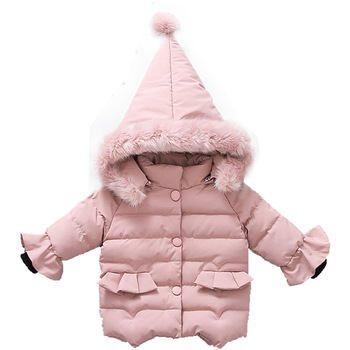 Winter Girls Hooded Plush Coat Xmas Snowsuit Childrens Jacket Cute Princess Clothes Baby Girl Outerwear Pink Black White Colour