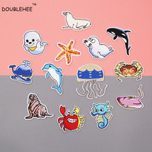 DOUBLEHEE Marine Life Animal Whale Crab Seal Patches Embroidered Iron On Patch For Clothing Sticker Badge Clothes Bag Pants