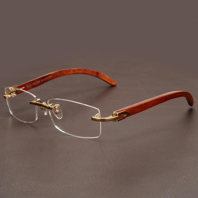 1d463e9837 Cubojue Wooden Glasses Men Gold Rimless Eyeglasses Frames for Man Myopia  Diopter Optical Prescription Luxury Brand Male Men s