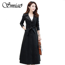 Smiao Winter Plus Size 4XL X-Long Coat 2018 Elegant Leather Female Womens Clothing PU Faux Outwear Jacket M-4XL