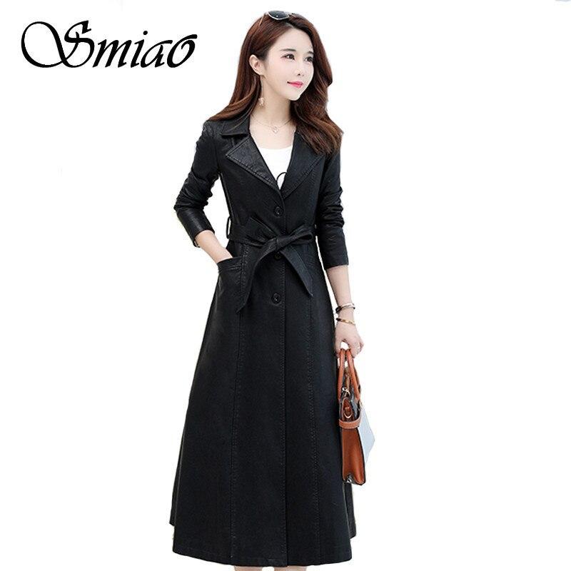 Smiao Winter Plus Size 4XL X-Long Coat 2018 Elegant   Leather   Female Women's Clothing PU Faux Outwear Female   Leather   Jacket M-4XL