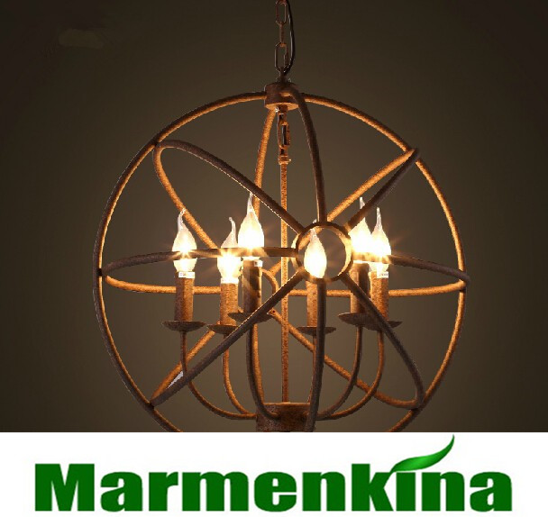 Loft Nordic restoring ancient ways round lamp wrought iron lamp candle chandelier restaurant bar, diameter: 55 cm, AC110-240V.