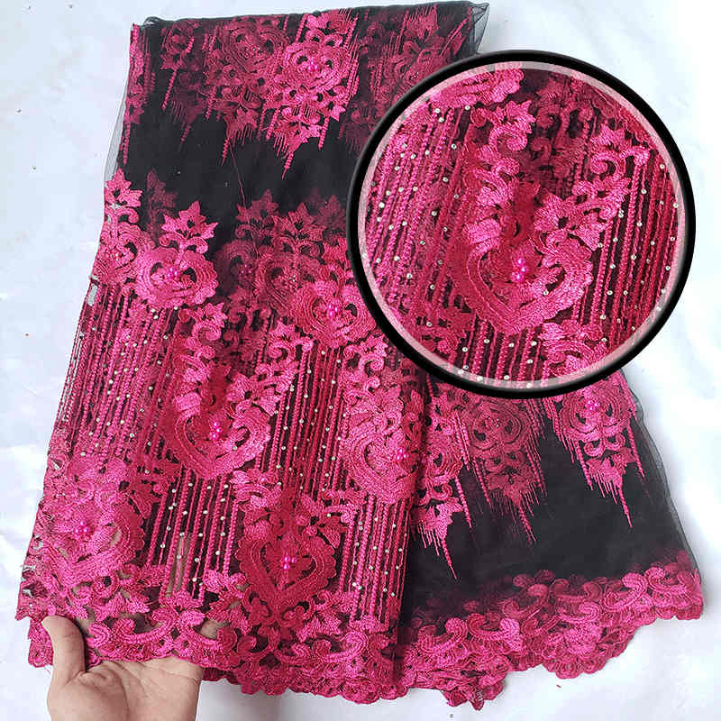 Hot sales latest African French Net lace high quality with stones swiss voice lace fabric for